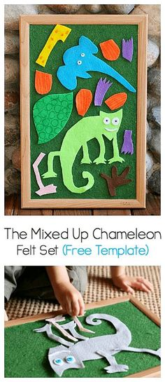 your own felt pieces to practice retelling the story The Mixed Up Chameleon by Eric Carle! (Free template and tutorial)Make your own felt pieces to practice retelling the story The Mixed Up Chameleon by Eric Carle! (Free template and tutorial) Preschool Literacy, Preschool Books, Literacy Activities, In Kindergarten, Preschool Activities, Reptiles Preschool, Learning Resources, Summer Activities, Flannel Board Stories