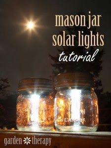 Mason Jar Solar Lights | Impress your friends and family this Fall by giving your outdoor patio and garden some stylish solar lights... #solar, #mason_jar, #diy