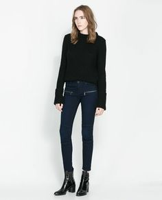 Image 1 of JEANS WITH ZIPS from Zara