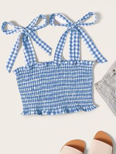 To find out about the Tie Strap Frilled Gingham Shirred Top at SHEIN, part of our latest Tank Tops & Camis ready to shop online today! Girls Fashion Clothes, Teen Fashion Outfits, Girly Outfits, Mode Outfits, Cute Casual Outfits, Outfits For Teens, Summer Outfits, Sewing Clothes, Teen Fashion