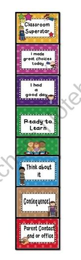 Clip chart behaviour management. from Just Teach on TeachersNotebook.com (8 pages)  - A great visual positive reinforcement for children to self regulate their own behaviour. Simply put names onto wooden pegs and the children can move their names along the chart as required. Classroom Behaviour, Classroom Routines, Primary Classroom, Future Classroom, Classroom Ideas, Classroom Wall Displays, Classroom Organisation, Classroom Management, Behavior Clip Charts