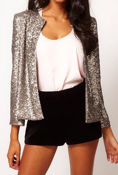 With Sequined Slim Silver Blazer 20.67