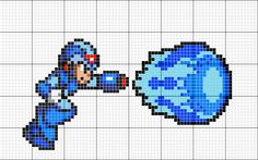 Megaman, cross stitch, pattern.