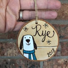 Dog Wood Ornament - Wood Burned Wood Slice - Polar Bear and Fox Ornament - Daughter Son Ornament - Personalized Wood Burning Cabin Christmas, Merry Little Christmas, Christmas Items, Christmas 2019, Fox Ornaments, Christmas Ornament Crafts, Holiday Crafts, Wood Bees, Painted Mugs