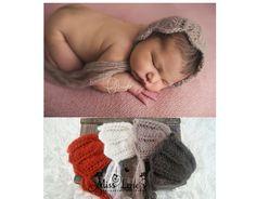 Newborn Baby Girl Lace Knit Bonnet Newborn by PhotoPropsByMissLene