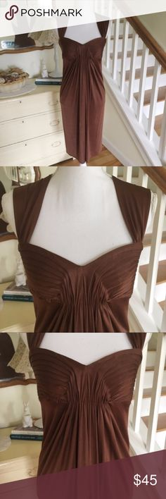 "BCBGMAXAZARIA Chocolate Brown Drape Dress This chocolate brown cocktail dress from BCBGMAXAZARIA drapes in all the right places and features a sweat heart neckline and empire waist. Perfect for weddings, formals and prom. Size: Small. Chest: 14.5"" - 16.5"". Length: 39"". BCBGMaxAzria Dresses Wedding"