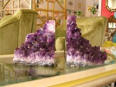 Geode bookends combine rock collecting with decorating.