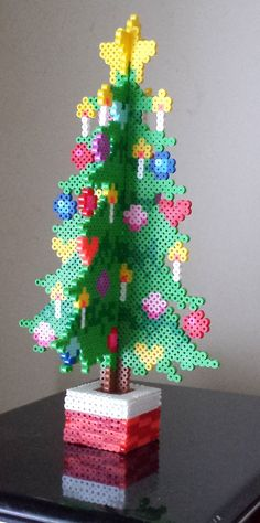 Week 27, Day 186, Christmas Tree.  Perler 365 Day Bead Challenge.