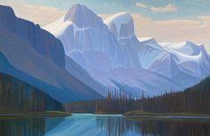 Ken Harrison - Monkhead and Mt. Warren Maligne Lake 40 x 60 Oil on canvas (2021)