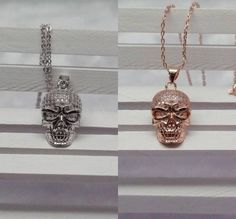 Fashion Women 925 Sterling Silver &18K Rose Gold Skull Necklace Pendant Gift