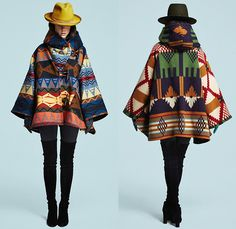 Lindsey Thornburg 2015-2016 Fall Autumn Winter Womens Lookbook Presentation - Poncho Cloak Tribal Scribbles Zigzag Ombre Pendleton Blanket Western Leggings Above The Knee Boots Ornamental Print Decorative Art Ethnic Animal Jungle Leopard Coat Gloves Knit Fleece Wool Robe Wrap Hoodie Hat