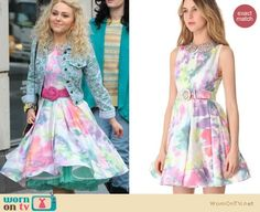 Carrie's pink watercolor dress and patterned denim jacket on The Carrie Diaries.  Outfit Details: https://wornontv.net/14200/ #TheCarrieDiaries