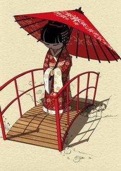 Geisha art print by Miss Lane