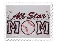 All Star Baseball Mom With A Twist Applique - 2 Sizes! | Featured Products | Machine Embroidery Designs | SWAKembroidery.com Katelyn's Kreative Stitches