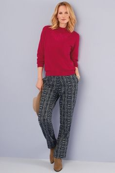 Buy Octavia Sweater - Red from Lily Ella - the home of beautiful ladies fashion. Red Sweaters, Capri Pants, Beautiful Women, Lady, Winter, Womens Fashion, Stuff To Buy, Winter Time, Capri Trousers