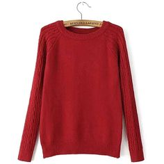 Yoins Cable Knit Long Sleeve Sweater in Red (£20) ❤ liked on Polyvore featuring tops, sweaters, shirts, red, red sweater, sleeve shirt, extra long sleeve shirts, layering shirts and long sleeve sweater
