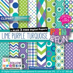 Monster Digital paper, Green Lime, Turquoise, Lavender Patterns, Background, Clip art, Birthday Party Printables