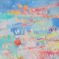 """Sunday Dresses 36x36"""" cheerful abstract painting by Kerri Blackman"""