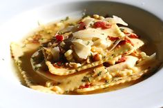 Roasted Vegetable Ravioli with Crispy Pancetta; kjh- very good, roasted vegetable filling could be used alone as a tapenade type dip
