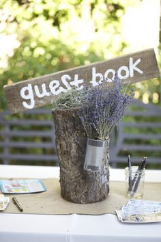 log and lavendar - replace guest book with welcome :-)
