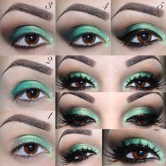 Gorgeous Makeup: Tips and Tricks With Eye Makeup and Eyeshadow – Makeup Design Ideas Teal Eye Makeup, Eye Makeup Cut Crease, Glitter Eye Makeup, Green Eyeshadow, Makeup For Green Eyes, Eye Makeup Tips, Makeup Ideas, Makeup Hacks, Dramatic Wedding Makeup