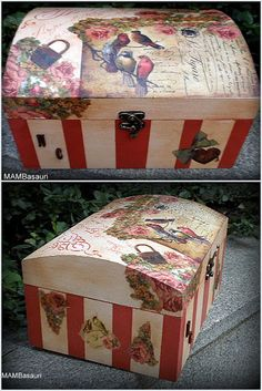 cajas decoradas manualidades Trash To Treasure, Treasure Boxes, Diy And Crafts, Arts And Crafts, Decoupage Box, Altered Boxes, Vintage Country, Wooden Boxes, Recycling
