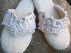 Wedding Bride Slipper Shoe Flat Cozy by BlissfulBashfulBride, $69.00