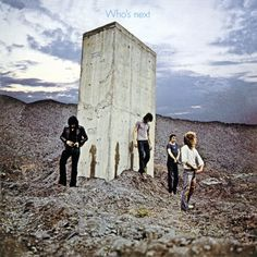 """Ethan Russell's famous cover shot for The Who's 1971 album. It captured public imagination for its resemblance to a scene called """"The Dawn of Man"""" in Stanley Kubrick's 2001: A Space Odyssey where a group of apes gather around a similar monolith—the main difference, of course, being that the apes feared and respected the monolith's smooth, flawless surface."""