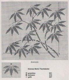 un solo color Cross Stitch Pillow, Cross Stitch Tree, Cross Stitch Flowers, Cross Stitch Charts, Cross Stitch Designs, Cross Stitch Embroidery, Crochet Leaf Patterns, Crochet Leaves, Filet Crochet Charts