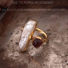 CAROLYN - ROMAN ART RUBY & PEARL RING 24K GOLD OVER 925K SILVER BY OMER $18