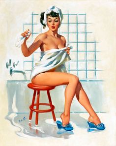 "4th Of July Pin-up, Red White & Blue...  TITLE: A Stool Pigeon  DATE: 1955  NOTES: Brown & Bigelow  Joyce Ballantyne (1918 - 2006) was a noteworthy member of the ""girl's club"" among pin-up artists - her women were often more natural than the studiously coy poses of her male counterparts."