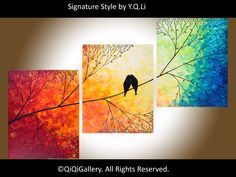 """Abstract Landscape Painting Original Modern  Heavy Texture Impasto Tree Birds Wall Decor """"Sunset in Forest"""" by QIQIGALLERY. $295.00, via Etsy."""