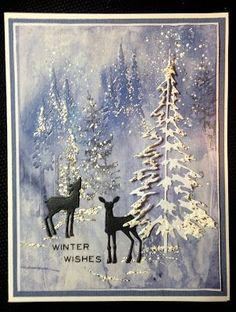 Welcome friends! I have a wintry Christmas card to share with you today. Inspired by the colors and snowy scene of Linda's (Funkie Junkie) 1...