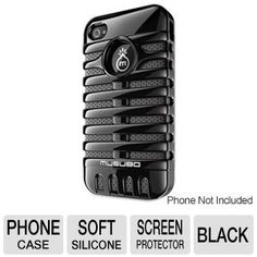 Musubo Retro MU11003BK Phone Case - For iPhone 4/4S, Double-Layers, Polycarbonate Exterior, Soft Silicone Interior, Screen Protectors Included, Black