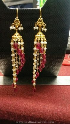 Gold Hoop Jhumka Earrings, Gold Designer Jhumka Earrings, Gold Jhumkas with Pearls and Rubies.