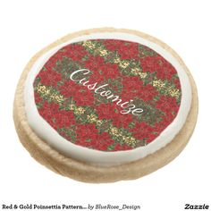 Shop Red & Gold Poinsettia Pattern Shortbread Cookies created by BlueRose_Design. Shortbread Cookies, Oreo Cookies, Sugar Cookies, Chocolate Covered Oreos, Chocolate Box, Cookie Gifts, Holiday Cookies, Christmas Treats, Poinsettia