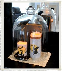 Halloween Candle Covers with Mod Podge by @graphicsfairy
