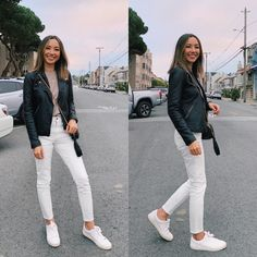 12 Ways to Style Your White Jeans - LIFE WITH JAZZ Jeans And Sneakers Outfit, Sneaker Outfits Women, White Jeans Outfit, 30 Outfits, Jean Outfits, Winter Outfits, Summer Outfits, Casual Outfits, Cute Outfits