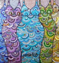 Pepsy Queens by Leena Nio Mosaic Glass, Mosaic Tiles, Glass Art, Stained Glass, Tiling, Mosaic Projects, Art Projects, Project Ideas, Craft Ideas