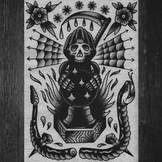 Traditional Tattoo Cuff, Traditional Tattoo Old School, Traditional Ink, American Traditional, Dark Art Tattoo, Tattoo Flash Art, Berg Tattoo, Thigh Tattoo Men, Geometric Tattoo Arm