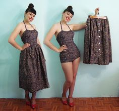 Wild 1950s Skirt Playsuit dress 2pc set  Vintage by Aquanetta, $265.00
