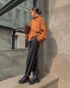 Women's Commuting High Collar Shoulder Sleeve Loose Sweater – Tokeeper Source by outfits street style Moda Streetwear, Streetwear Fashion, Mode Outfits, Casual Outfits, Fashion Outfits, Travel Outfits, Indie Fall Outfits, Fashion Tips, Fashion Trends