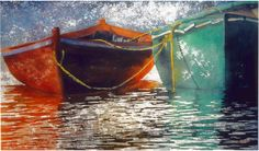 """red n viridian dories  20"""" x 40"""" micheal zarowsky  watercolour on arches paper / private collection"""