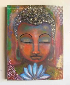 Buddha with a blue lotus - Acrylic on Canvas - Original Art by ArtoholicsLair on Etsy