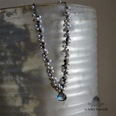 Moonbeams Jewelry by Adity Karande.  Handmade Necklace London Blue Topaz, Pearls, Silver, Gold