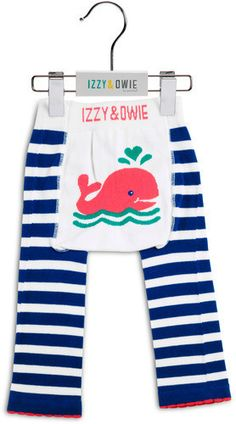 Blue and White Whale Boys Leggings by Izzy & Owie - Giggles Gear