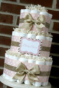 3 Tier Blush Pink and Champagne Gold Diaper Cake, Baby Girl, Elegant Pink and Gold Baby Girl Shower, Centerpiece, Decor, Blush Gold