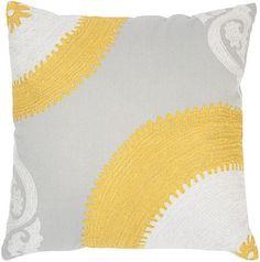 grey yellow pillow