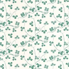 Klöverblad is a wallpaper with green clover meanders over a white background. This print was designed by Josef Frank in the 1940s.  - Wallpaper Klöverblad, Paper, Klöverblad, Josef Frank