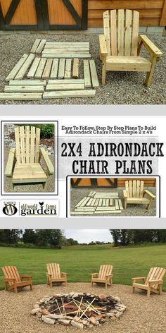 18 How to Build an Adirondack Chair Plans & Ideas Easy DIY Plans - diy furniture plans Diy Furniture Chair, Pallet Patio Furniture, Fire Pit Furniture, Outdoor Furniture Plans, Diy Garden Furniture, Diy Chair, Furniture Makeover, Rustic Furniture, Furniture Ideas